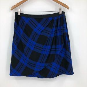 Gap Mini Skirt Buffalo Plaid Flannel Wrap Blue 10